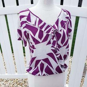 🆕NY&C Purple White V-neck Ruffle Short Sleeve Top